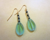 Green Glass Earrings with Crystals