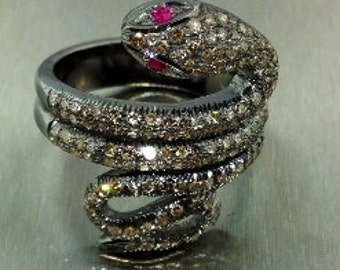 Champagne Diamond and Ruby Snake Ring