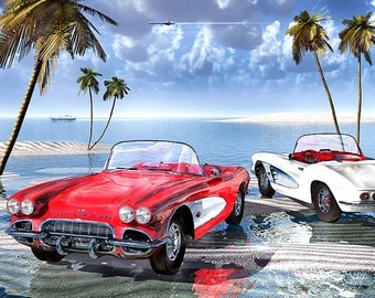 "Cool Runnings, Digital print - 8.5"" X 11"", Home Decor, Corvette Art, Signed by Artist Mark Watts"