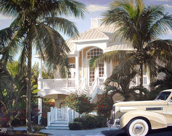 "Tropical Retreat, Digital print - 8.5"" X 11"" , Home Decor, Great Gatsby Art, Bedroom Art, Signed by Artist Mark Watts"