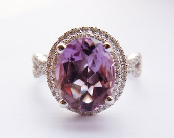 Sterling Silver Engagement Ring,Amethyst Custom-Size Ring