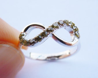 Infinity Ring in Sterling Silver&CZ stones Engravable All Size