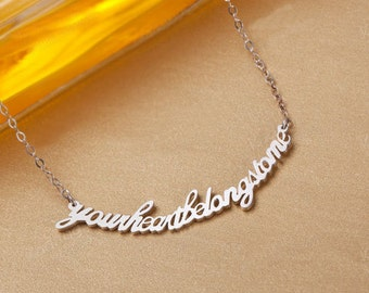 Phrase engraved necklace-word necklace,a sentence necklace,Personalized name necklace,custom name necklace