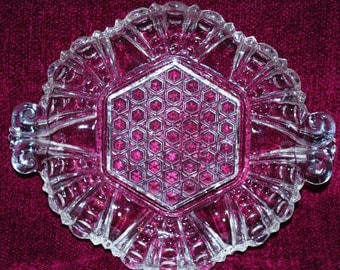 Anchor Hocking AHC44 Pattern Pressed Dot/Cane Clear Glass Ornate Handled Candy/Nut Dish