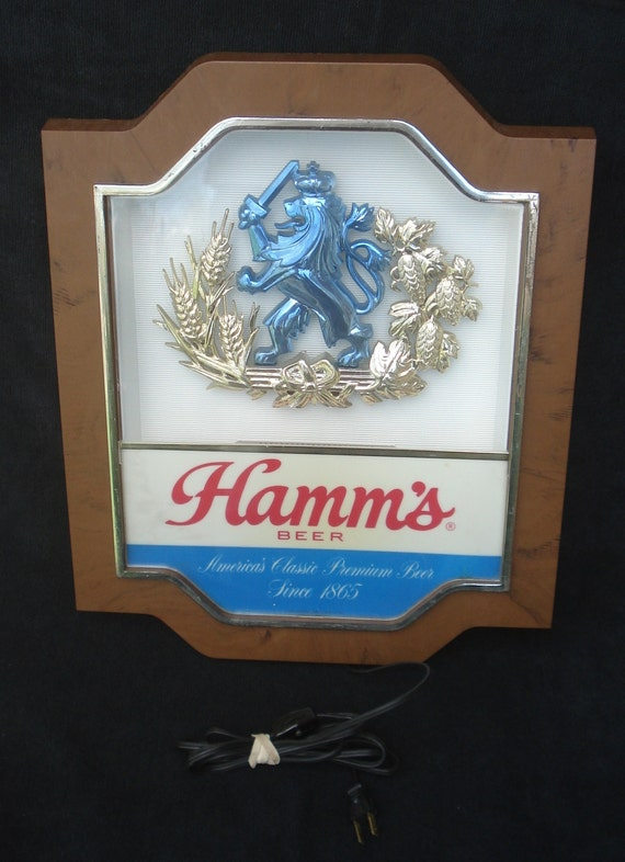 Vintage Lighted Hamm S Beer Lion Crest Sign