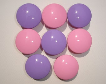Set of 8 Hand Painted Pink and Lavender Dresser Drawer Knobs
