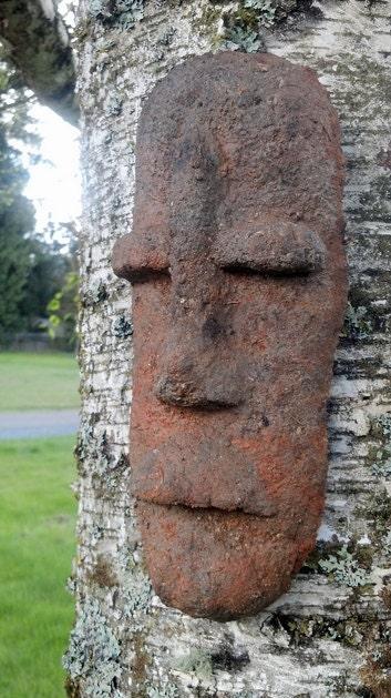 Unique Hypertufa Sculpture Tiki Tribal Mask Concrete