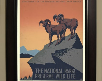 The national parks preserve wild life WPA Poster - 3 sizes available, one price.