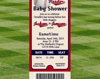 Baseball Baby Shower Invitation for Twins