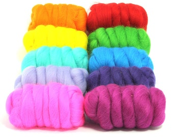 Beautiful Brights - 10 Colours - Dyed Merino Wool Tops - 250g / 9oz - Wet / Needle Felting - Roving - Spinning