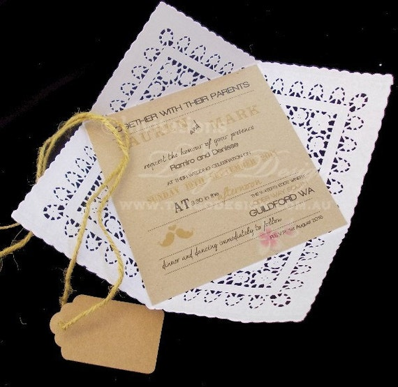 Paper Lace Doily Wedding Invitations Wrap By InvitationsbyTango