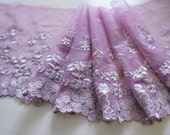 "6.5"" purple embroidered tulle net lace - per 2 yard"