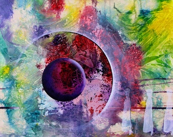 """Contemporary, mystical acrylic painting.  GW Orb 6.      16"""" x 20""""  Free U.S. shipping."""