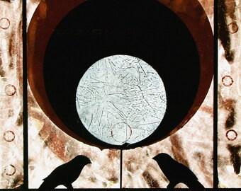 "Planets, universe and black birds. ORIGINAL MONOPRINT,  ""Contemplation"".   16"" x 16"". Free U.S. shipping."