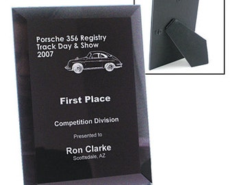 "Black Glass Plaque-7""X9"" Engraved for You"