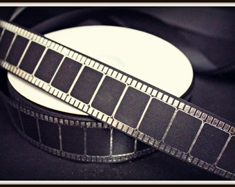 Hollywood Film Style Ribbon- Film Strip Trim - 1 yard - 1 5/16 inch wide Black Silver