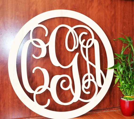 24 39 39 Wooden Monogram Wall Hanging Letters Unpainted
