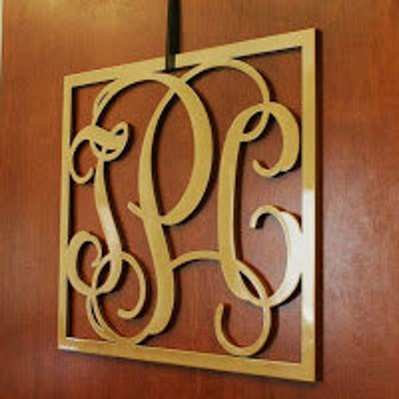 wooden monogram wall hanging letters nursery decor home decor wood