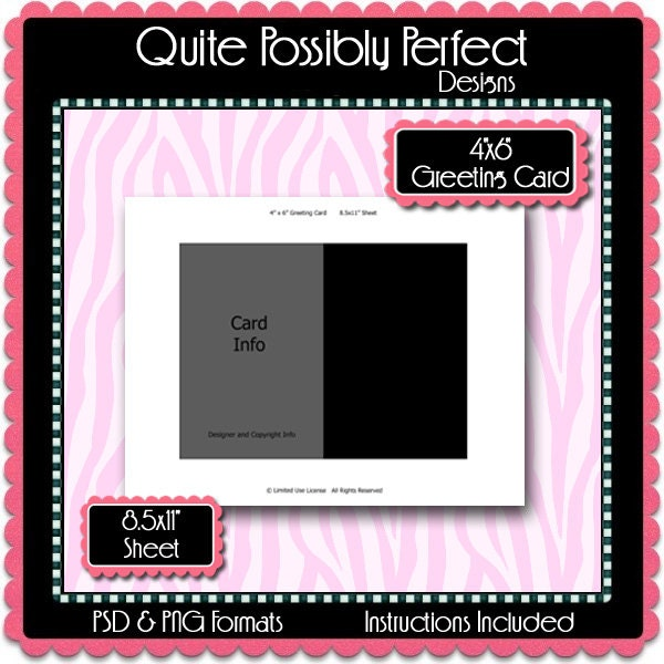 4x6 greeting card template instant download psd and png. Black Bedroom Furniture Sets. Home Design Ideas