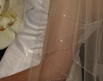 2 layers beaded edging with crystal rhinestones wedding veil.