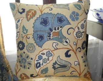 Blue And Chocolate/Espresso Pillow Cover, Decorative Pillow Cover, 18'' x 18'' Pillow Case Cushion, Sofa/Bed Pillow