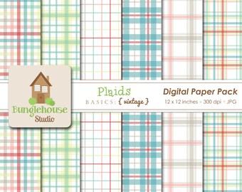 Vintage Plaid Digital Papers | Instant Download | Digital Scrapbooking Basics | Cute Plaid Papers