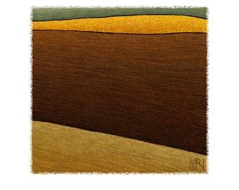 Abstract Art and Modern Art Print of a Burnt Field and Canola Field. Beautiful, Unique Giclee Art Print of an Australian Farm Landscape