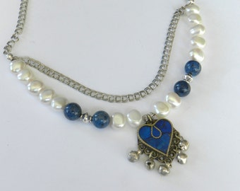 Pearl & Sterling Silver Chain Necklace with Lapis Heart Pendant