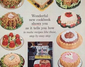 Vintage Knox Gelatine Ad. Paper Ephemera from a 1962 Ladies Home Journal.
