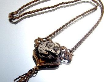 Steampunk Vintage Floral Motif Necklace, Aged BrassWatch Movement OOAK Kay 4768