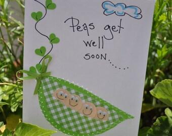 Gel Well Greeting Card  Peas Get Well Soon