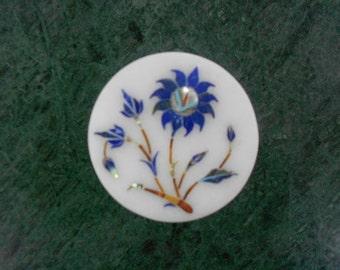 Beautiful Marble Trinket Box Pietra Dura Art Collectible Ring Box
