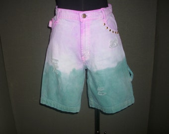 Distressed Denim Shorts, Long Shorts, High Waisted Denim Shorts, Green & Pink Shorts, Dip Dyed Shorts, Studded Shorts, Cargo Shorts - Size 5