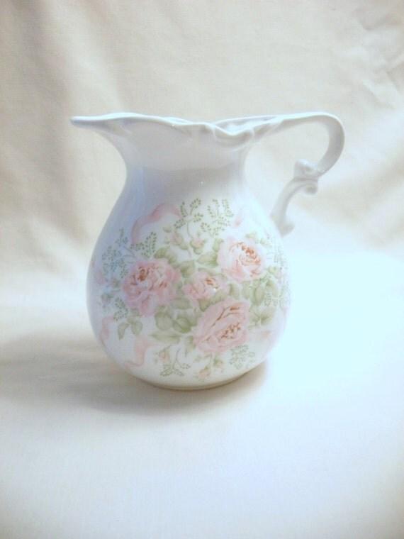 Bone China Floral Jug with Pink Roses by Hadida