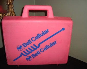 Vintage BELL Canada PHONE Box Vintage Cell Phone Case CELLULAR Pink Storage Case Bell Advertising