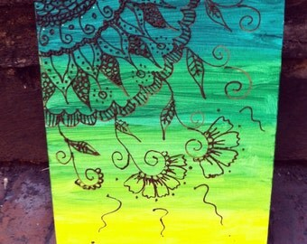 Paint and Henna on Canvas - Indian inspired henna art