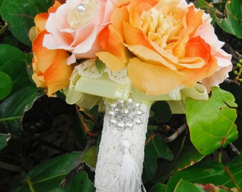 Pink and Orange Bridal Bouquet with Pearl and Lace Accents,  Autumn Wedding, Burnt orange  Bouquet,  Orange Peony,  Lace
