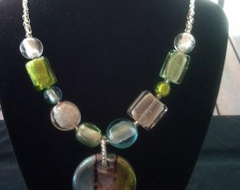 lampwork glass foil glass ladies necklace
