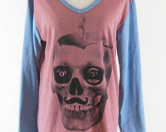 Skull Sweatshirt skull design skull shirt skull sweater women sweater women shirt women tee shirt size M