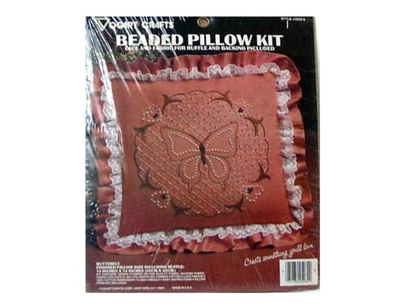 Butterfly bead and embroidery pillow kit vogart crafts usa