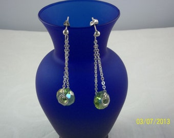 Green Bead Dangle Earrings
