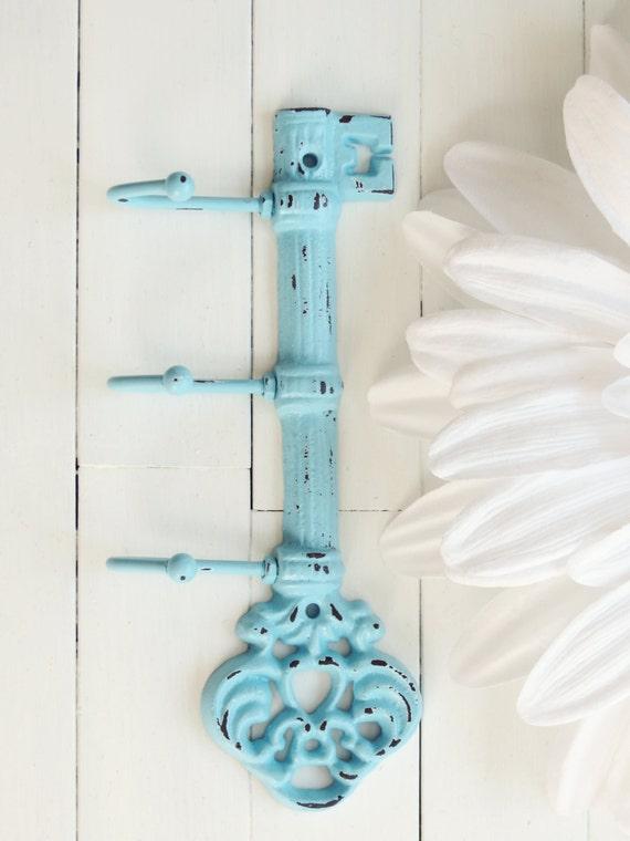 Items similar to Cast Iron Key Hook / Aqua Home Decor / Iron Key / Skeleton Key / Wall Key