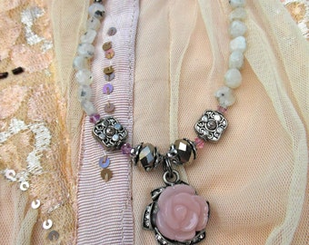 Lady Kristie pink rose and moonstone necklace