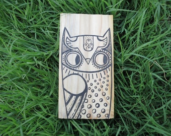Owl illustration / drawing on wood block / Original art drawing / 6.5 x 3.5 x 1 pine block
