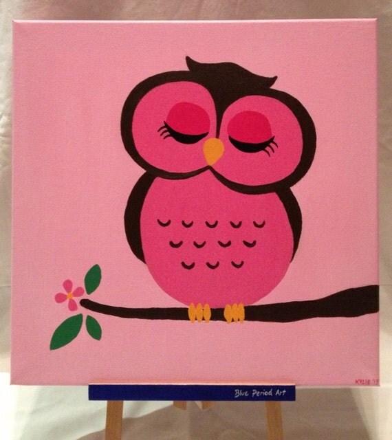 Items similar to sale pink cartoon owl for children original pink cartoon owl for children original acrylic painting 40 x 40 cm on etsy voltagebd Choice Image
