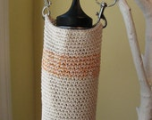 Cotton hand crocheted pouch/bag/water bottle holder, with swivel hooks on strap for easy use.