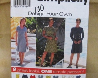 9 Great Looks Design Your Own Dress Pattern, Simplicity 7243, Size 8-10-12 UNCUT