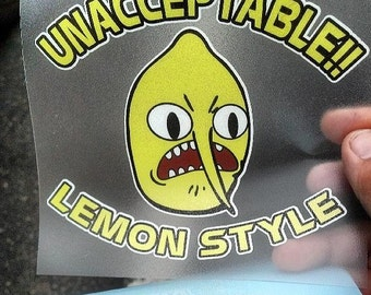 "Adventure Time Lemongrab ""Unacceptable"" Decal for Cars or Laptops"