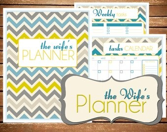Printable Planner, the Wife's Planner, Chevron Printable Planner Organizer
