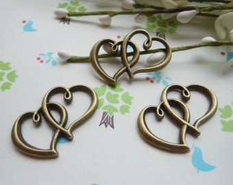 20PCS 20mmX32mm Lovely Antique Bronze Heart To Heart Charm Pendant